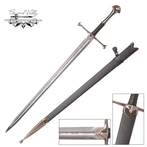 Sword Valley®Handgemachtes Anime Cosplay Schwert, Edelstahl, Buster Schwerter, handgeschmiedet, scharfe Messer, Narsil, Filmschwert Anduril - Aragorns Schwert