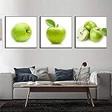 3 piezas de descuento Cavans Pintura Naturaleza muerta Impresión en lienzo Manzanas verdes Pinturas de pared modernas Arte de la pared Decoración del hogar 60x60cm (23.62x23.62in) x3Pcs Sin marco
