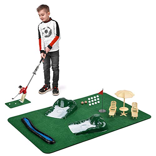 Abco Tech Mini Golfing Man Indoor Golf Kit – Golf Course Backyard Set – Complete Mini Golf for Home – Easy to Set Up and Play – Lightweight & Compact – Portable Mini-Golf Course