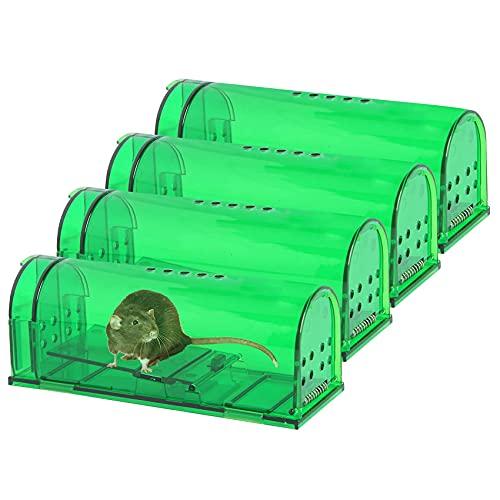 4 Pcs Humane Mouse Traps No Kill, Live Mouse Trap, Reusable Mice Trap Catch for House & Outdoors