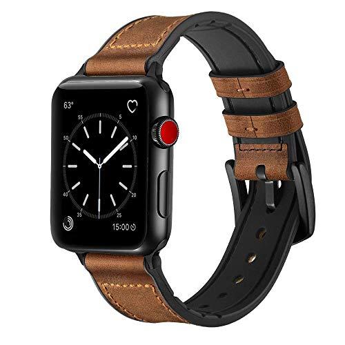 iBazal leren armband vervanging voor iWatch Series 5 Series 4 Series 3 Series 2 Series 1 armband 44 mm 42 mm leren horlogeband bands armbanden horlogeband echt lederen band horlogeband herenhorloge bracelets, 42mm/44mm, hybride bruin.