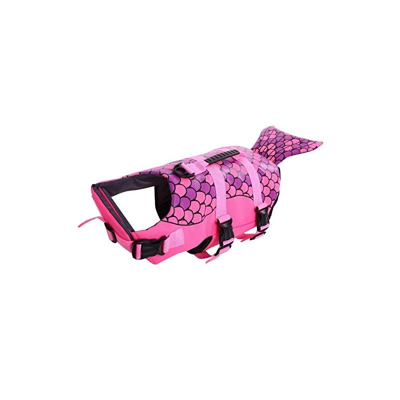 dog supplies online queenmore dog life jacket ripstop dog safety vest adjustable preserver with high buoyancy and durable rescue handle for small,medium,large dogs, pink fish x-large