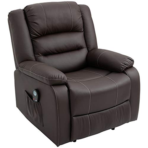 HOMCOM Vibrating Massage PU Leather Recliner Chair, Footrest with Remote Control, 8 Massaging Points, Dark Brown