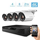 Amcrest 4K Security Camera System 8CH 8MP Video DVR with 4X 4K 8-Megapixel Indoor Outdoor Weatherproof IP67 Cameras, 2TB Hard Drive, 100ft Night Vision, for Home Business (AMDV80M8-4B-W)