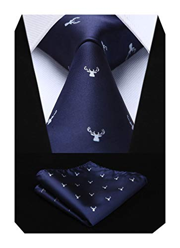 HISDERN Herren Weihnachts Krawatte Elch Woven Party Krawatte & Einstecktuch Set