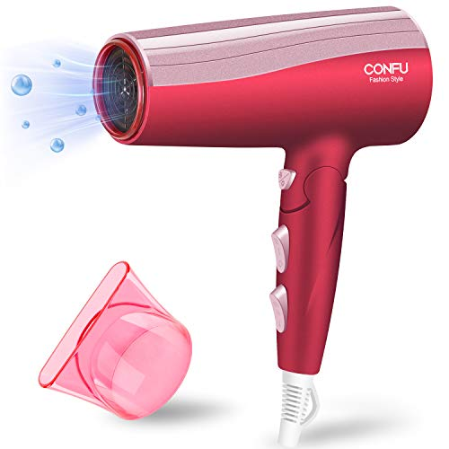 CONFU Secador de pelo de 2000 W, secador de pelo, secador de viaje, secador de pelo, plegable, con boquilla moldeadora, 2 velocidades, 3 calor, motor CC, con botón de enfriamiento IonTec, color rojo
