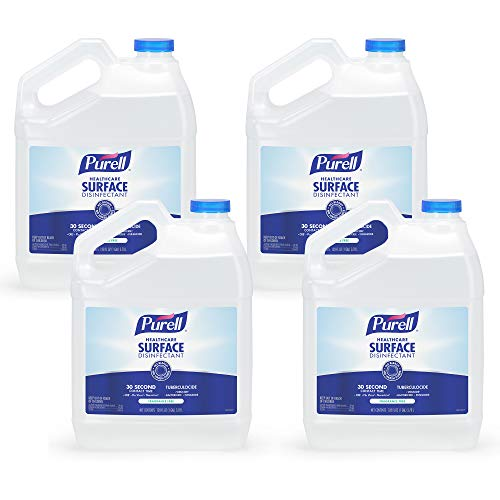PURELL Healthcare Surface Disinfectant, Fragrance Free, 1 Gallon Surface Disinfectant Pour Bottle Refill (Pack of 4) - 4340-04,Clear
