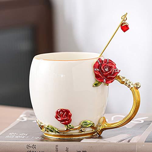 YIUN flor taza de té, Taza de café, esmalte Artesanía taza de cerámica, taza, taza del esmalte con la cuchara, taza del recorrido con la manija exquisita flor, rosa roja, 320ml
