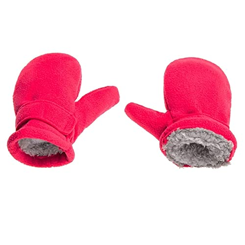Winter Warmth and Thickened Gloves, Children' s Winter Mittens Lined with Fleece, Children Easy to Wear Outdoor Mittens (Color : Hot Pink, Size : X-Large)