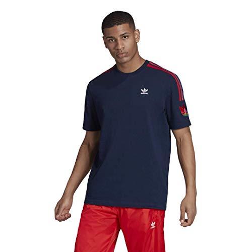 adidas Originals Men's Adicolor 3D Trefoil 3-Stripes Tee - Blue - XL