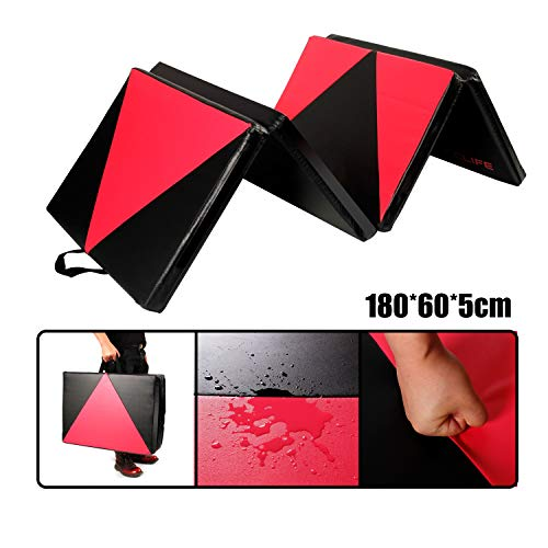 CCLIFE 180x60x5 Turnmatte Weichbodenmatte Klappbar für zuhause Fitnessmatte Gymnastikmatte rutschfeste Sportmatte Spielmatte 4 Elemente, Farbe:DGNMT020A4060smr
