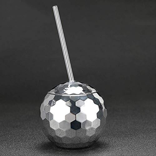 Theekopjes,Nieuwe Creatieve Disco Flash Ball Cocktail Cup Nachtclub Bar Party Zaklamp Stro Wijnglas Drinken Siroop Tea Mate Fles 580ml Zilver