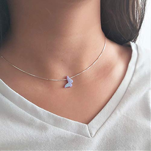 """Purple Lilac Opal Butterfly Necklace Gift for Women Girl Teens Delicate Synthetic Opal jewelry Sterling Silver 925 Box Chain 16""""+extension"""