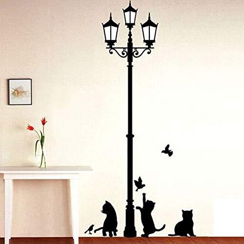 xingxing Kreative DIY beliebte alte Lampe Katzen und Vögel Wandsticker Cartoon Wand Wandbild Home Decor Zimmer Kinder Aufkleber Tapete