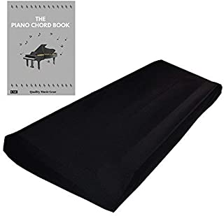 """Stretchable Keyboard Dust Cover for 88 Key-keyboard: Best for all Digital Pianos & Consoles – Adjustable Elastic Cord; Machine Washable – FREE Piano Chords Ebook – 49""""×17""""×6""""."""