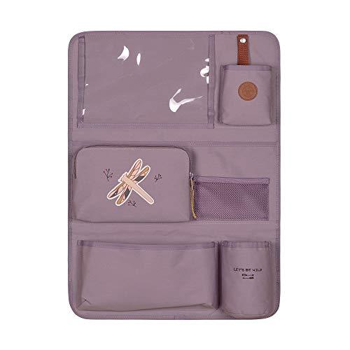 LÄSSIG Autoorganizer Autorücksitzorganizer Rücksitztasche für Auto zum Hängen zusammenklappbar 55 cm/Car Wrap-to-Go Adventure Dragonfly, Lila
