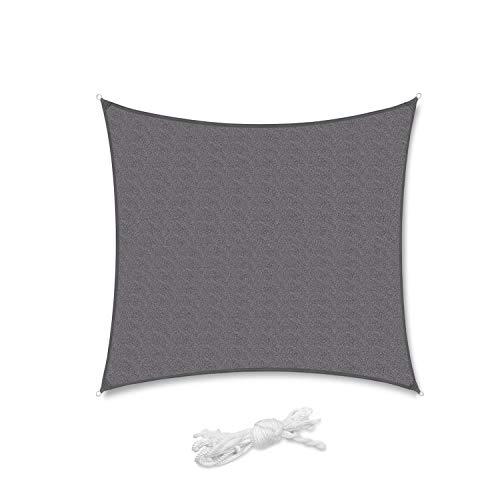 Sekey Toldo Vela de Sombra Cuadrado HDPE Protección Rayos UV Resistente Permeable Transpirable para Patio, Exteriores, Jardín, con Cuerda, 3×3m Antracita