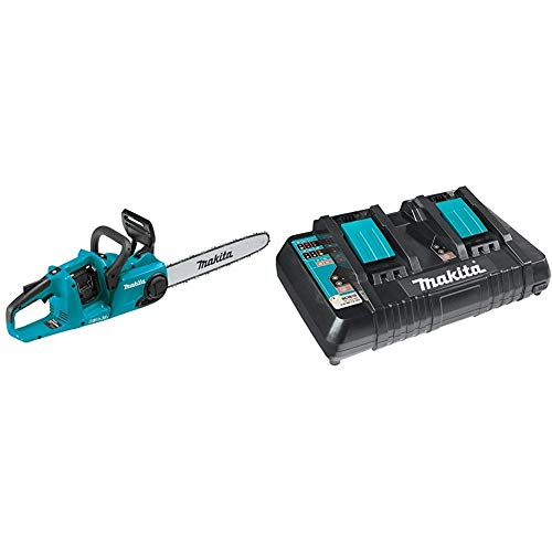 Makita XCU04Z Lithium-Ion Brushless Cordless 16' Chain Saw with Makita DC18RD 18V Lithium-Ion Dual Port Rapid Optimum Charger