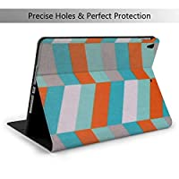 ターコイズオレンジ IPad Air3 & Pro ケース 10.5インチ/iPad 第7世代 ケース 10.2 インチ 高級PUレザー TPU ソフト、オートスリープ&スタンド機能付き、ひび割れ防止 スマートケース カバー、兼用手帳型保護カバー 超軽量 全面保護