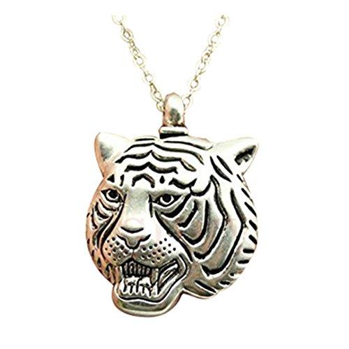 2Farben Antik Bronze, antik silber Ton Big Tiger Kopf Anhänger Halskette, 70cm Kette lange Halskette