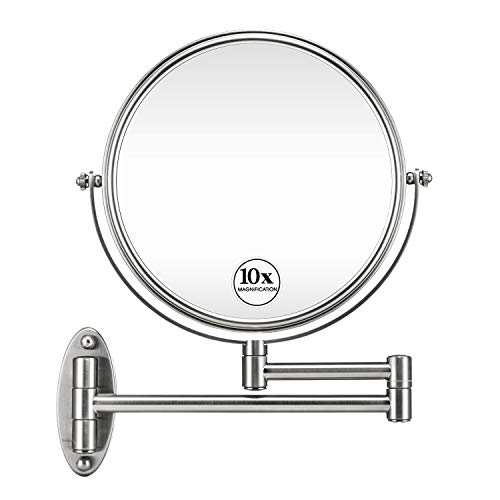 GloRiastar 10X Wall Mounted Makeup Mirror - Double Sided Magnifying Makeup Mirror for Bathroom, 8 Inch Extension Brushed Nickel Mirror