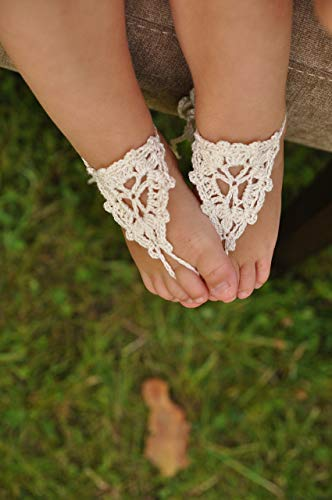Crochet Baby Barefoot Sandals, Baby Foot accessories, Photo prop, Beach Pool Anklet, Lace Sandals, Beach wedding Flower girl shoes