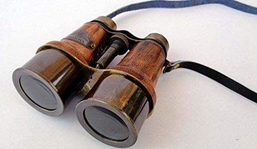 Ganga Nautical Antikes Fernglas aus Leder und Messing, 15,2 cm