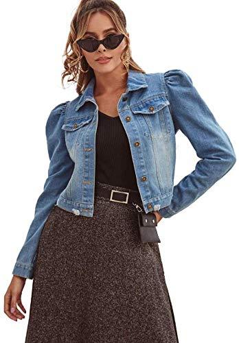 Damen Short Jeansjacke Damen Jacke mit Puffärmeln Court Art dünne Jeansjacke,XS