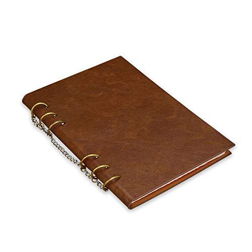 KAERMA Eisenring, 1 Stück, A4, A5, Leder, perforiert, Notizblock, Notizblock, Konferenzbuch, Schreibwaren, (Farbe: braun, Größe: A4)