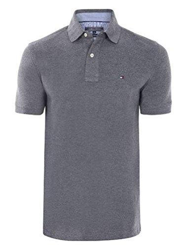 Tommy Hilfiger Polo pour homme, manches courtes, différentes couleurs - Gris - Small