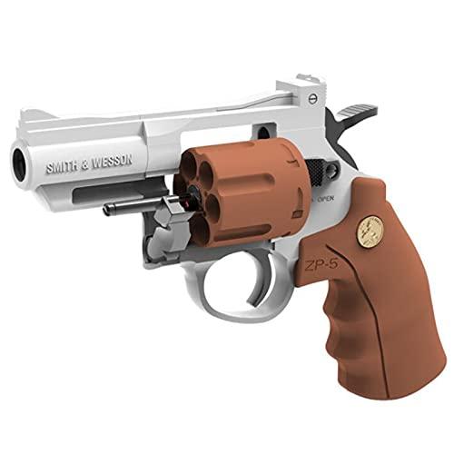 MINGJ Revólver de Juguete para niños, Aspecto Real, Pistolas manuales de Espuma de Juguete con 40 Balas de Esponja, Objetivo y Soporte, niños