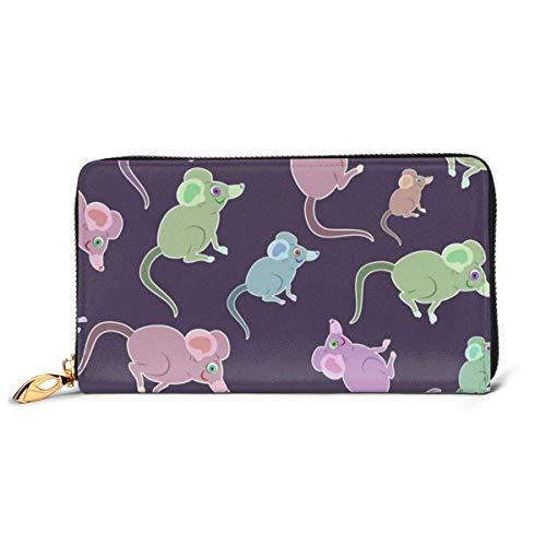 XCNGG Tengyiyi Genuine Leather Travel Passport Holder Funny Mouse Purple Green Travel Wallet Cover Case Card Wallet for Women Girls