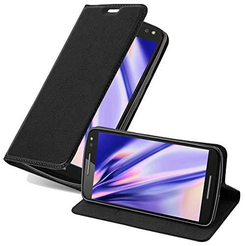 Cadorabo Hülle für Motorola Moto X Style in Nacht SCHWARZ - Handyhülle mit Magnetverschluss, Standfunktion & Kartenfach - Hülle Cover Schutzhülle Etui Tasche Book Klapp Style