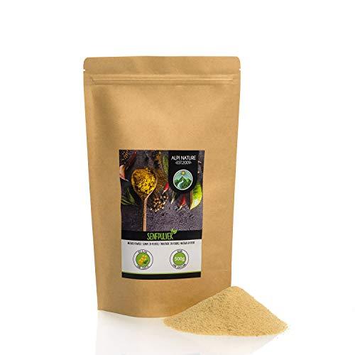 Mostaza en polvo (500g), mostaza molida, 100% natural a partir de semillas de mostaza, semillas de mostaza suavemente secadas y molidas, especia sin aditivos, veganas