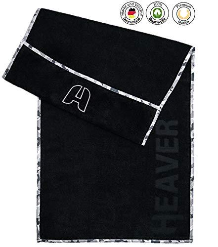 HEAVER® Fitnesshandtuch für das Gym/Das Sporthandtuch mit Antirutsch Fixierung aus 100% Baumwolle in 2 Farben für Damen und Herren