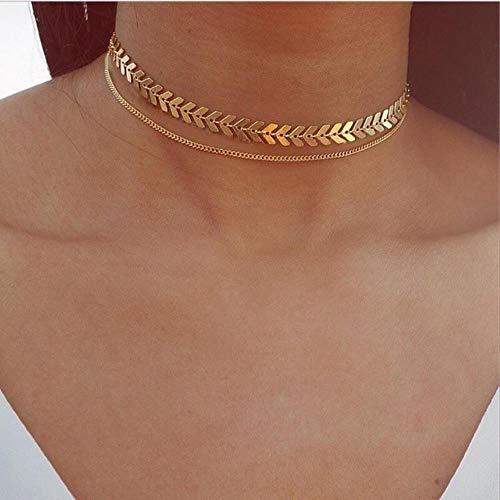 LLD Collar Corto con Lentejuelas metálicas para Mujer, Personalidad Europea y Americana, Minimalista, versátil, Collar de Gargantilla de Moda, Gargantilla de Novedad, Collares, Doble Dorado