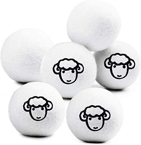 Sweetone Bolas de Secadora de Lana, 6 pcs Dryer Balls de Lana de Oveja Reutilizables, Pelotas para secar la Ropa sin Usar suavizante, Reducción estática y Suavizante de Telas Naturales Paquete