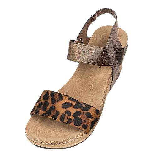 Yvelands Summer Womens Leopard Open Toe con Tiras de cuña Zapatos de Plataforma de Cuero Sandalia Romana(Caqui,36)