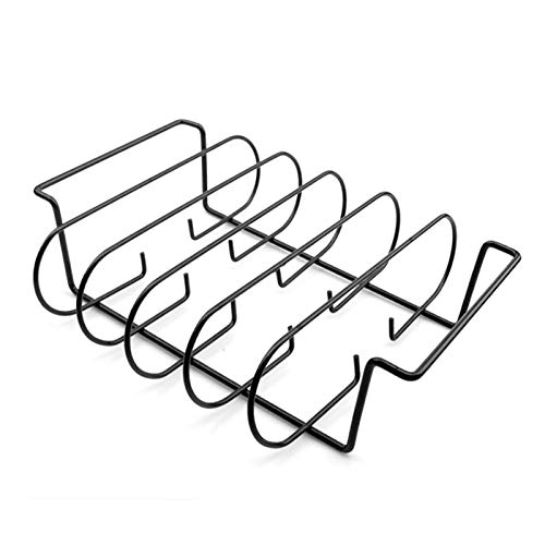 PUXING Rib Racks for Smoker, Smoker Accessories Holds 4 Ribs for Grilling Barbecuing and Smoking, BBQ Rib Rack for Gas Smoker or Charcoal Grill