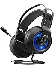 Mpow EG3 Pro ゲーミングヘッドセット 3.5mm USB接続 5.1ch FPS 高音質 ノイズキャンセルマイク付き 50MMドライバー 自動調整ヘッドバンド ゲーム用 PC/PS4/PS4 Pro/PS4 Slim/MAC OS対応 ヘッドフォン ブラック/ブルー