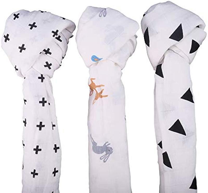 UMLIFE Baby Muslin Swaddle Blanket 100 Soft Cotton Adjustable Unisex Infant Shower Gift 3 Pack