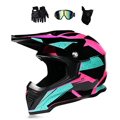 Motocross Helm Damen Pink Schwarz mit Brille/Handschuhe/Maske, Motorrad Crosshelm Adult Fullface-Helm Motorradhelm Enduro MTB Off Road Downhill Mountainbike BMX Bike ATV Cross-Country,M