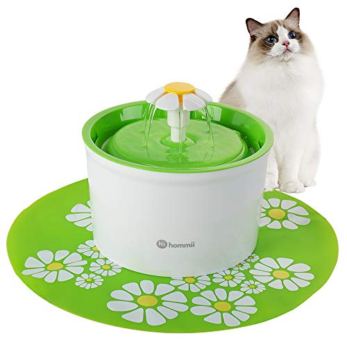 Hommii Pet Drinking Water Fountain, 1.6 Liters with Super Quiet Pump and Replaceable Filter, Automatic Electric Water Dispenser for Cats and Dogs, Color Green with Mat