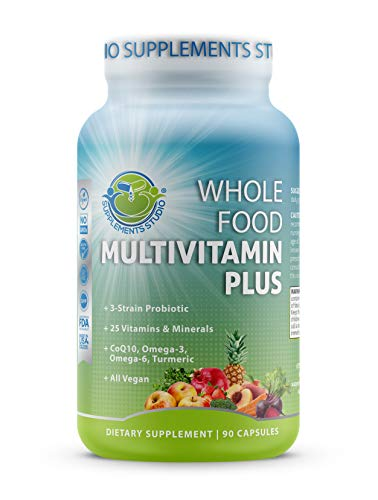 Whole Food Multivitamin Plus - Vegan - Daily Multivitamin for Men and Women with Fruits and Vegetables, B-Complex, Probiotics, Enzymes, CoQ10, Omegas, Turmeric, All Natural, 90 Capsules
