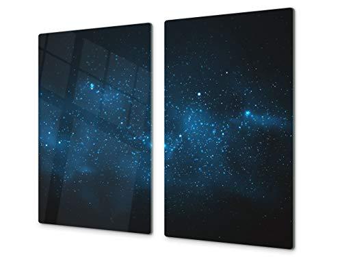 Tabla de cortar decorativa de cristal templado y cubre vitro – Dos en Uno – Resistente a golpes y arañazos – UNA PIEZA (60 x 52 cm) o DOS PIEZAS (30 x 52 cm); D09 Serie diversos: Textura 36