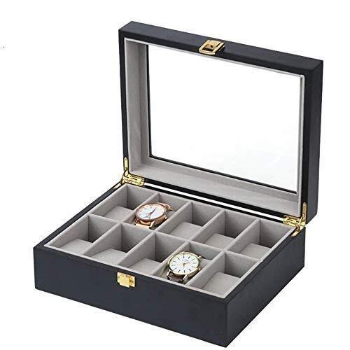 LULUTING Caja de Reloj de Madera 10 Ranura de exhibición de la joyería Caja de Almacenamiento/Tapa de Cristal