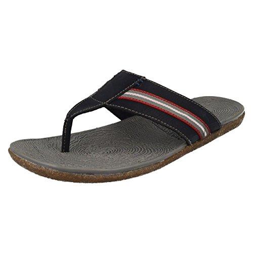 Herren Leder Oben Hineinschlüpfen Zehensteg Sandale Mit Nackenband Design Branding Zu Dem Fußbett Perfect Für Y - Herren, Marine, 45