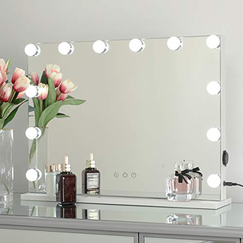 OUO Lighted Vanity Mirror, Hollywood Makeup Mirror, Smart Control Mirror with 12 Dimmable Bulbs, Tabletop Beauty Mirrors with USB Outlet, 3 Color Lighting Modes, White (H17.3 X L22.8 Inch)