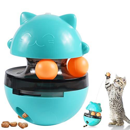 OMZGXGOD Juguetes para Gatos Interactivos, 4 EN 1 Bolas Educativos de Pelota Dispensadora de Comida Bola Volteadora,Bola para Golosinas de Gato para Ejercicio Animal Doméstico Gatos