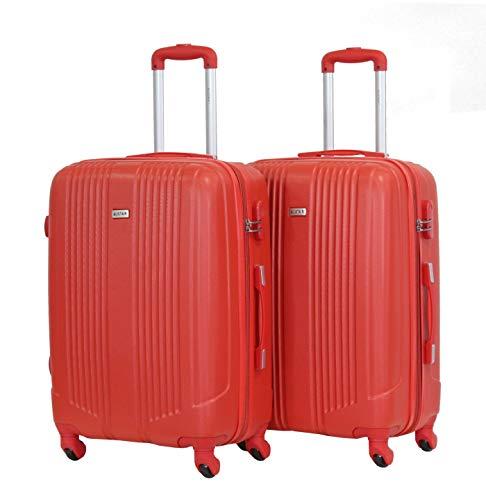 Juego de 2 Maletas Medianas de 65 cm – Aliistair Airo – ABS ultraligeros y Resistentes – 4 Ruedas – Marca Francesa, Rouge/Rouge (Rojo) - 9089-Mx2-Rouge/Rouge